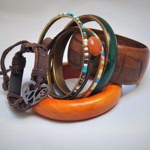 7 Boho Bracelet Bundle! Wood Inlaid Shell Brass